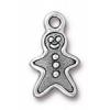 Christmas Gingerbread Man Charm Antique Silver